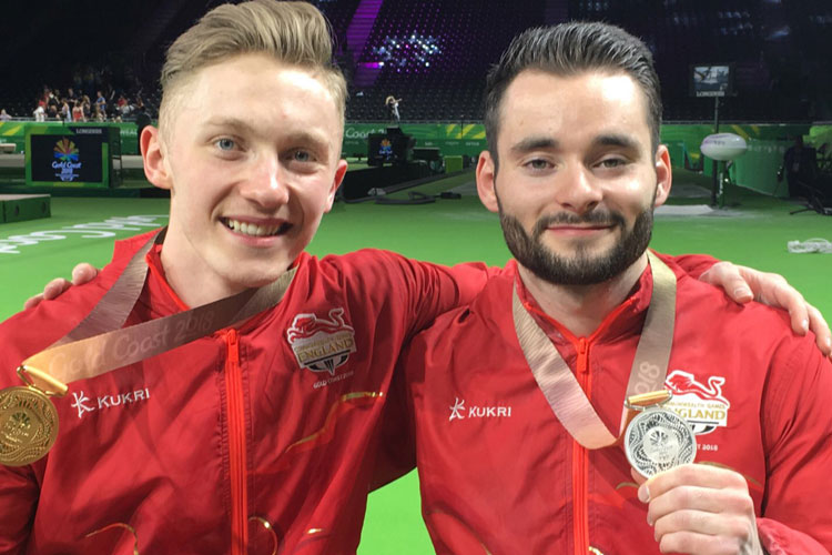 Commonwealth all-around gold for England's Nile Wilson and silver for teammate James Hall