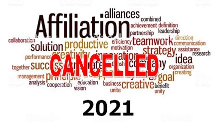 Affiliation Fees 2021 Cancelled - Message of Support